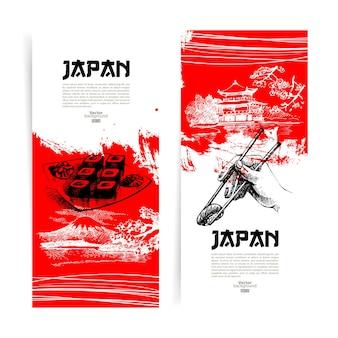 Reeks japanse sushibanners. schetsillustraties voor menu