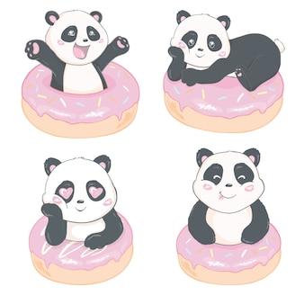 Reeks jonge pandaposities, geïsoleerde illustratie