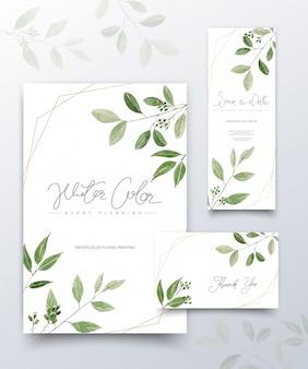 Reeks kaarten van waterverf groene bladeren.