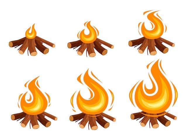 Reeks kampvuursprites die houten logboeken branden en het kamperen stenen vlakke illustratie die op witte achtergrond wordt geïsoleerd