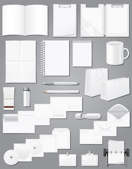 Reeks kantoorbehoeftenelementen witte lege steekproeven voor de vectorillustratie van het collectieve identiteitontwerp