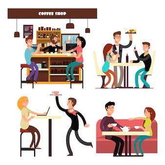Reeks karakters die op de illustratie van de koffiewinkel drinken