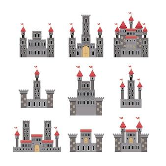 Reeks kastelen van sprookjes op witte achtergrond