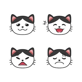 Reeks kattengezichten die verschillende emoties voor ontwerp tonen.