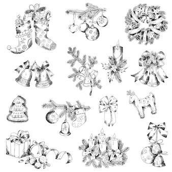 Reeks kerstmiselementen voor ontwerp en plakboek