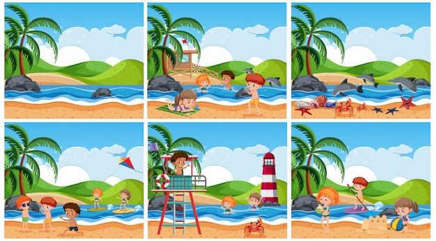 Reeks kinderen bij strandscène