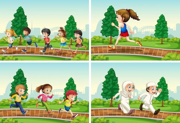 Reeks kinderen die bij het park lopen