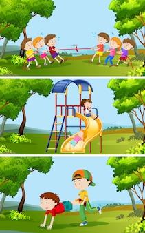 Reeks kinderen die buiten spelen
