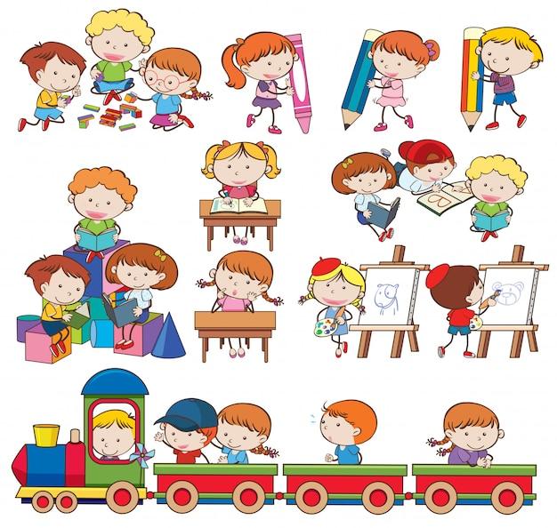 Reeks kinderen die en activiteiten spelen doen