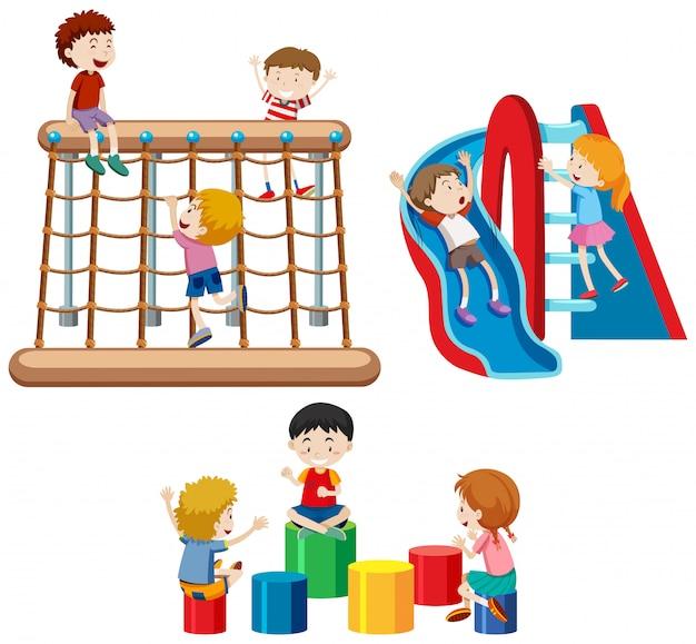 Reeks kinderen die met speelplaatsapparatuur spelen