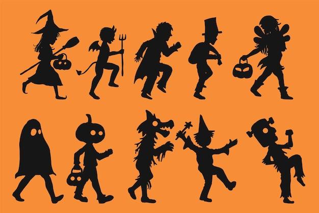 Reeks kinderen in halloween-dag de kinderen silhouetteren op oranje achtergrond.