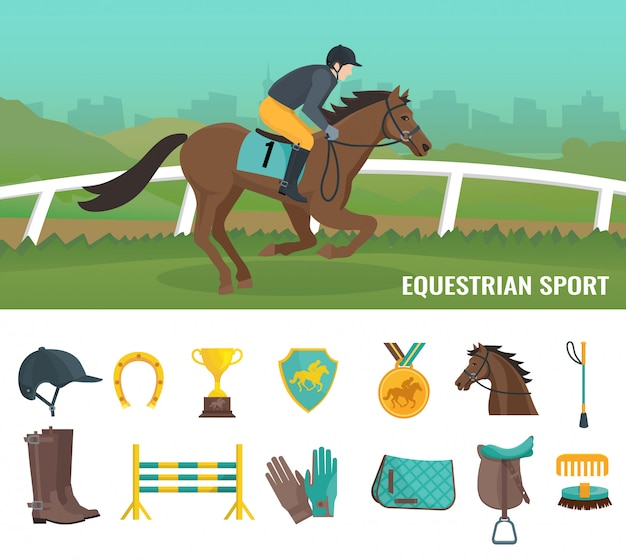 Reeks kleuren vlakke pictogrammen die apparatuurjockey en ruitersport tonen