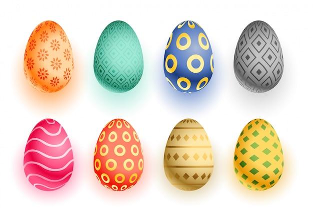 Reeks kleurrijke 3d realistische eieren van pasen