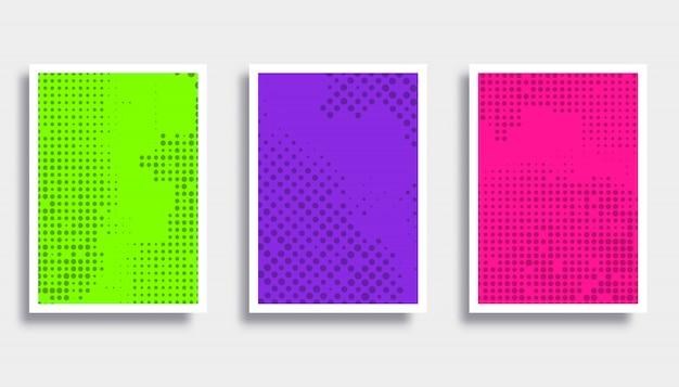 Reeks kleurrijke achtergronden met halftoonpatroon.