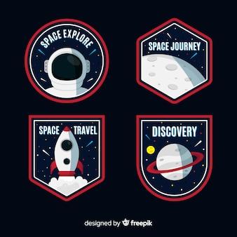 Reeks kleurrijke astronomische stickers