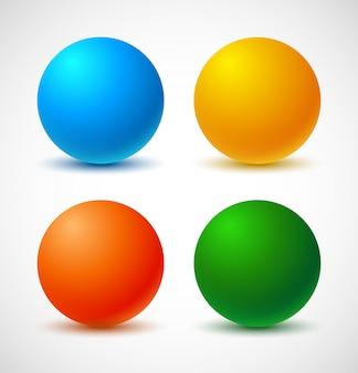 Reeks kleurrijke ballen.