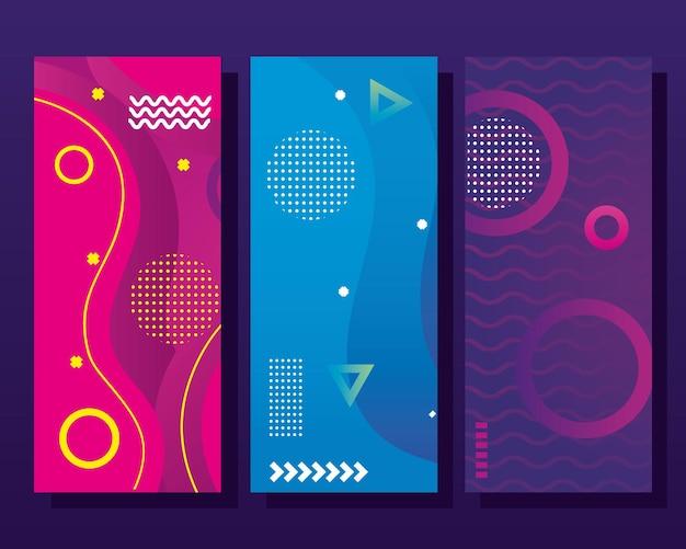 Reeks kleurrijke banners van memphis
