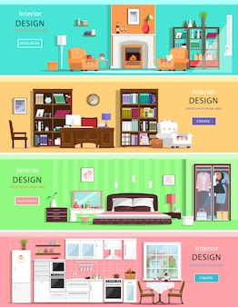 Reeks kleurrijke binnenlandse huiskamers met meubilairpictogrammen: woonkamer, slaapkamer, keuken en bureau aan huis. illustratie.