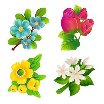 Reeks kleurrijke bloemen