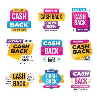 Reeks kleurrijke cashbacketiketten