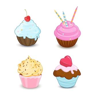 Reeks kleurrijke cupcakes op witte achtergrond