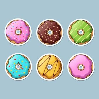 Reeks kleurrijke donutsstickers.