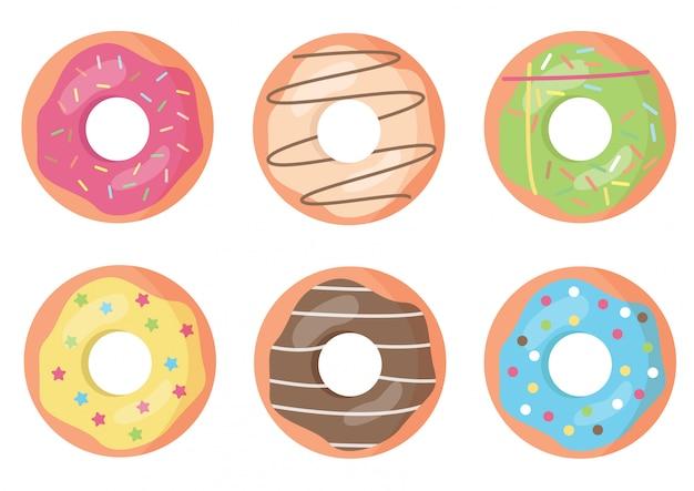Reeks kleurrijke en verfraaide donuts.