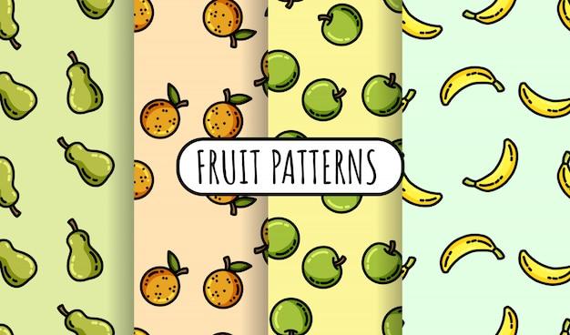 Reeks kleurrijke fruit naadloze patronen. platte ontwerpcollectie