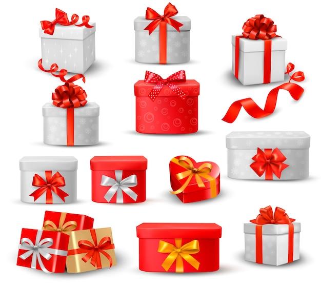 Reeks kleurrijke geschenkdozen met strikken en linten.