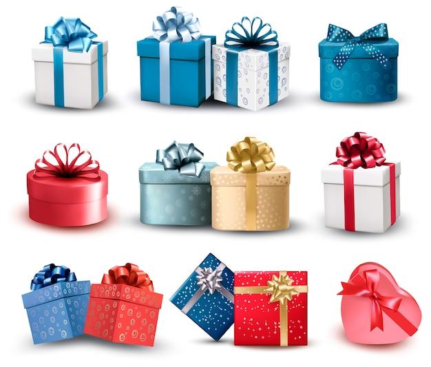 Reeks kleurrijke geschenkdozen met strikken en linten