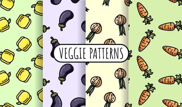Reeks kleurrijke groenten naadloze patronen.
