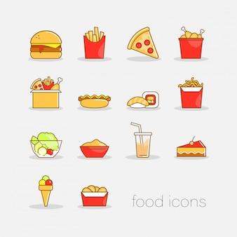 Reeks kleurrijke hand getrokken het snelle voedselpictogrammen van de krabbelstijl. vlakke kleurrijke illustratie voor het web.