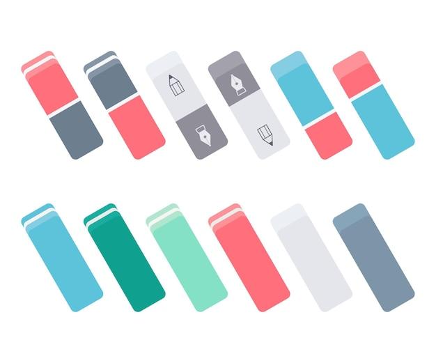 Reeks kleurrijke inkt en grafietgommen. collectie voor school- en kantoorbenodigdheden. platte vectorillustratie geïsoleerd op een witte achtergrond