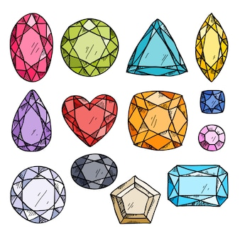 Reeks kleurrijke juwelen.
