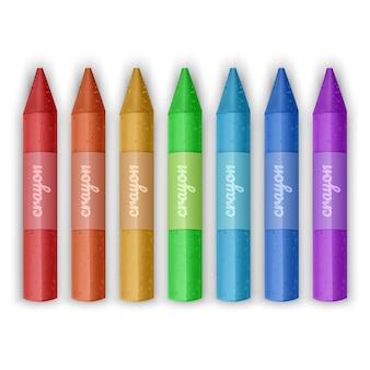 Reeks kleurrijke kleurpotloden. wax potloden collectie. geïsoleerd.