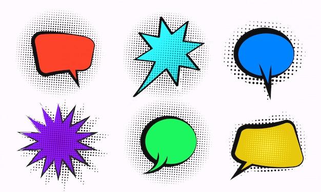 Reeks kleurrijke komische zeepbelontwerpen