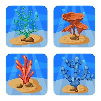 Reeks kleurrijke koralen en algen op een blauwe achtergrond