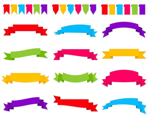 Reeks kleurrijke lintbanners