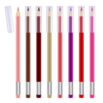 Reeks kleurrijke lipvoeringen. cosmetische potloden illustratie. rood, roze, naakt, bruin en paars.