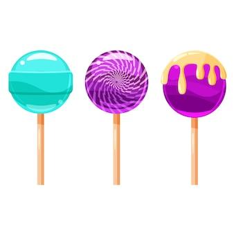 Reeks kleurrijke lollys, zoet suikergoed