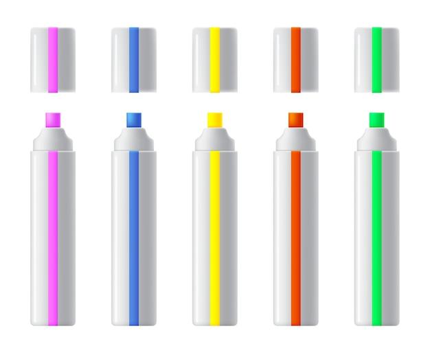 Reeks kleurrijke markeringen. realistische markeerstiften, viltstift of pennencollectie voor ontwerp in huis-, kantoor- en schoolprojecten, plakboeken.