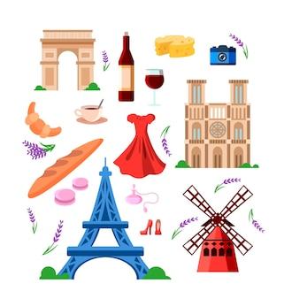 Reeks kleurrijke oriëntatiepunten van frankrijk en reissymbolen
