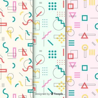 Reeks kleurrijke patronen van memphis