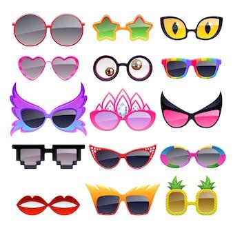 Reeks kleurrijke pictogrammen van de partijzonnebril. grappige bril modeaccessoires.