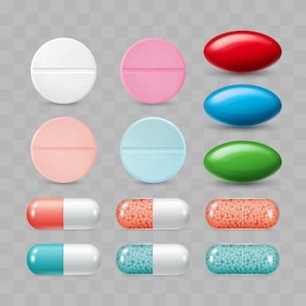 Reeks kleurrijke pillen kleurgroep farmaceutische geneesmiddelen