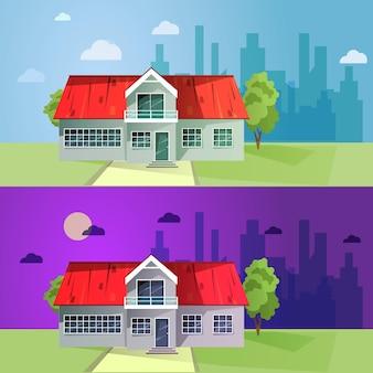 Reeks kleurrijke plattelandshuisjes. flat gebouwen.