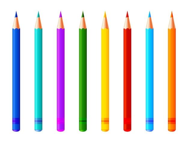 Reeks kleurrijke potloden. realistische markeerstiften, viltstift of pennencollectie voor ontwerp in huis-, kantoor- en schoolprojecten, plakboeken. levendige tekengereedschappen voor kinderen en kunstenaars.