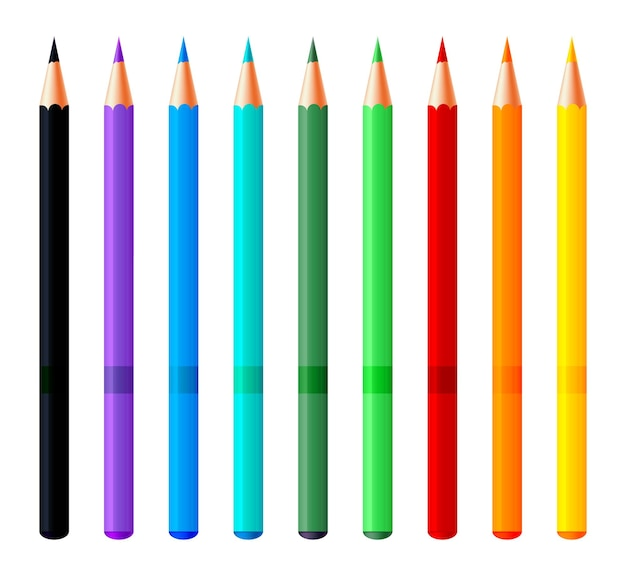 Reeks kleurrijke potloden