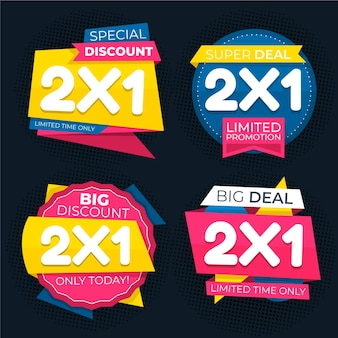 Reeks kleurrijke promotionele etiketten