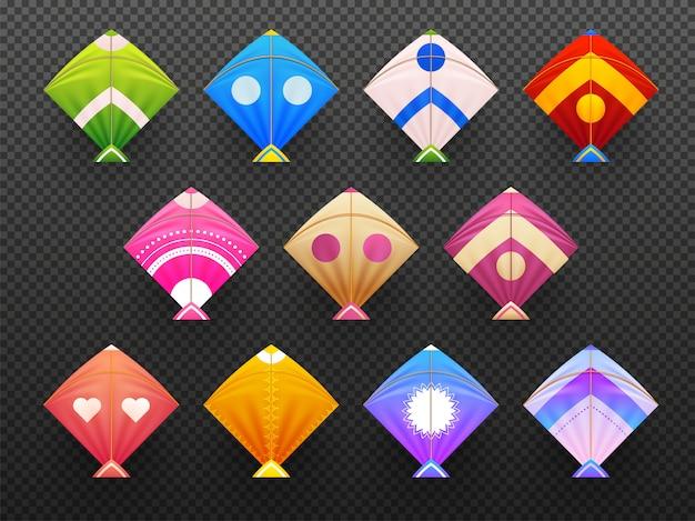 Reeks kleurrijke realistische vliegers